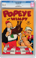 Golden Age (1938-1955):Cartoon Character, Four Color #17 Popeye and Wimpy (Dell, 1942) CGC VF+ 8.5 Off-white pages....