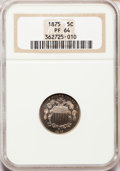 Proof Shield Nickels: , 1875 5C PR64 NGC. NGC Census: (112/83). PCGS Population (122/71).Mintage: 700. Numismedia Wsl. Price for problem free NGC/...