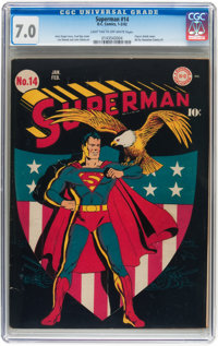 Superman #14 (DC, 1942) CGC FN/VF 7.0 Light tan to off-white pages