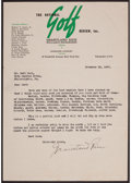 Golf Collectibles:Autographs, 1937 Grantland Rice Signed Letter, To Bert Bell....