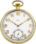 Timepieces:Pocket (post 1900), Recta 18k White & Yellow Gold Pocket Watch, circa 1925. ...