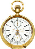 Timepieces:Pocket (pre 1900) , Guinand Gold Split Second Chronograph With Register, circa 1880's. ...