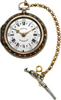 Timepieces:Pocket (pre 1900) , Thomas White London Silver & Tortoise Verge Fusee, circa 1810. ...