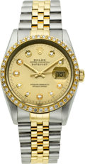 Timepieces:Wristwatch, Rolex Ref. 16233 Two Tone With Diamonds, circa 1989. ...