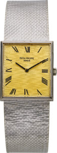 Timepieces:Wristwatch, Patek Philippe Ref. 3550/1 Gent's White Gold Wristwatch, circa 1968. ...