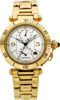Timepieces:Wristwatch, Cartier Ref. 2395 Gold Two Time Zone Pasha. ...