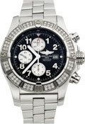 Timepieces:Wristwatch, Breitling Steel & Diamond Super Avenger. ...