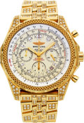 Timepieces:Wristwatch, Breitling Extremely Rare Limited Edition Gold & Diamond 30Seconds Chronograph For Bentley Motors No. 1 of 5 Produced. ...