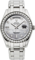 Timepieces:Wristwatch, Rolex Very Fine Ref. 18946 Special Edition Platinum & Diamond Day-Date Wristwatch With Pearl Dial, circa 2006. ...
