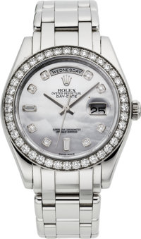 Rolex Very Fine Ref. 18946 Special Edition Platinum & Diamond Day-Date Wristwatch With Pearl Dial, circa 2006