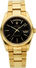 Timepieces:Wristwatch, Rolex Ref. 118208 Gent's Gold President With Black Dial, circa2000. ...