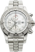 Timepieces:Wristwatch, Breitling Steel Super Avenger With Diamonds. ...