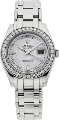 Rolex Platinum & Diamond Masterpiece With Meteorite Dial, Ref. 18946, circa 2006