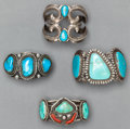American Indian Art:Jewelry and Silverwork, FOUR NAVAJO SILVER AND TURQUOISE BRACELETS. c. 1965... (Total: 4Items)