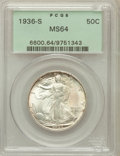 Walking Liberty Half Dollars: , 1936-S 50C MS64 PCGS. PCGS Population (719/893). NGC Census:(433/611). Mintage: 3,884,000. Numismedia Wsl. Price for probl...