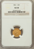 Gold Dollars, 1861 G$1 AU58 NGC. NGC Census: (137/1080). PCGS Population(132/792). Mintage: 527,499. Numismedia Wsl. Price for problem f...