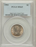 Liberty Nickels: , 1901 5C MS65 PCGS. PCGS Population (173/40). NGC Census: (160/37).Mintage: 26,480,212. Numismedia Wsl. Price for problem f...