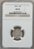 Seated Dimes: , 1876 10C AU55 NGC. NGC Census: (6/279). PCGS Population (10/289).Mintage: 1,145,000. Numismedia Wsl. Price for problem fre...
