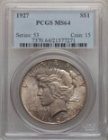 Peace Dollars: , 1927 $1 MS64 PCGS. PCGS Population (1660/281). NGC Census:(955/121). Mintage: 848,000. Numismedia Wsl. Price for problem f...