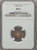 Barber Dimes: , 1893 10C MS61 NGC. NGC Census: (10/210). PCGS Population (4/209).Mintage: 3,340,792. Numismedia Wsl. Price for problem fre...