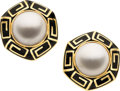 Estate Jewelry:Earrings, Mabé Pearl, Enamel, Gold Earrings, David Webb. ...