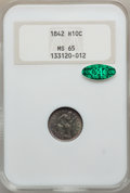 Seated Half Dimes, 1842 H10C MS65 NGC. CAC....