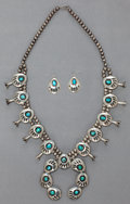 American Indian Art:Jewelry and Silverwork, A NAVAJO SILVER AND TURQUOISE SQUASH BLOSSOM NECKLACE WITH MATCHINGEARRINGS... (Total: 3 Items)