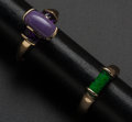 Estate Jewelry:Rings, Lavender Jade & Green Malachite Gold Rings. ... (Total: 2 Items)