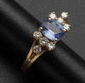 Estate Jewelry:Rings, Tanzanite & Diamond Gold Ring. ...