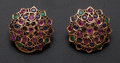 Estate Jewelry:Earrings, Ruby Sapphire & Emerald Pink Gold Earrings. ...