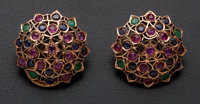 Ruby Sapphire & Emerald Pink Gold Earrings