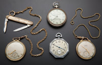A Lot Of Three Pocket Watches & One Railway Timekeeper