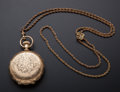Timepieces:Pocket (post 1900), Elgin 14k Gold Hunter's Case Pocket Watch With Chain. ...