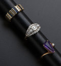 Estate Jewelry:Rings, Three Gold Diamond Sapphire & Amethyst Rings. ... (Total: 3Items)