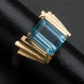 Estate Jewelry:Rings, Blue Topaz Gold Ring With Appraisal. ...