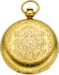 Timepieces:Pocket (pre 1900) , Edward Vail Massive 18k Gold Lever Fusee Railway Timekeeper, circa1860. ...
