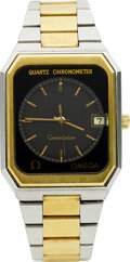 Timepieces:Wristwatch, Omega Steel & 14k Gold Quartz Chronometer. ...