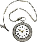 Timepieces:Pocket (pre 1900) , John Moore Early Silver Verge With Key, circa 1785. ...