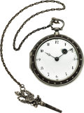 Timepieces:Pocket (pre 1900) , François Cauge French Verge Silver & Leather Pinned Case, circa1810. ...