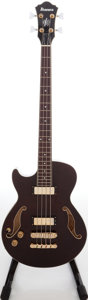 Musical Instruments:Bass Guitars, 2008 Ibanez Artcore Burgundy Left Handed Semi-Hollow Body Electric Bass Guitar, Serial # S08081978....