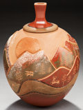 American Indian Art:Pottery, A SAN ILDEFONSO POLYCHROME LIDDED JAR. Russell Sanchez. c. 2000....