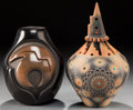 American Indian Art:Pottery, TWO SANTA CLARA BLACKWARE JARS. Anita Sauzo and Ron Sauzo. c. 2005.... (Total: 2 Items)