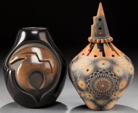 TWO SANTA CLARA BLACKWARE JARS Anita Sauzo and Ron Sauzo c. 2005