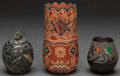 American Indian Art:Pottery, THREE SOUTHWEST ETCHED POLYCHROME JARS. Mike and Jennifer Moquino,Glendora Fragua, and Corn Moquino. c. 2005... (Total: 3 Items)