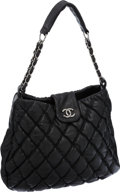 Luxury Accessories:Bags, Chanel Black Quilted Lambskin Leather Large Bubble Hobo Bag with Silver Hardware. ...