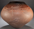 American Indian Art:Pottery, A SANTA CLARA ETCHED BROWNWARE JAR. Susan Folwell . c. 1995...