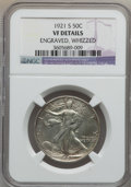 Walking Liberty Half Dollars, 1921-S 50C -- Whizzed, Engraved -- NGC Details. VF. NGC Census:(65/281). PCGS Population (91/375). Mintage: 548,000. Numis...