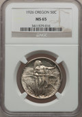 Commemorative Silver: , 1926 50C Oregon MS65 NGC. NGC Census: (658/384). PCGS Population(844/468). Mintage: 47,955. Numismedia Wsl. Price for prob...