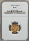 Liberty Quarter Eagles: , 1861 $2 1/2 New Reverse, Type Two MS61 NGC. NGC Census: (385/669).PCGS Population (106/463). Mintage: 1,283,878. Numismedi...