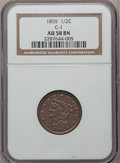 Half Cents: , 1855 1/2 C AU58 NGC. C-1. NGC Census: (55/505). PCGS Population(83/348). Mintage: 56,500. Numismedia Wsl. Price for probl...